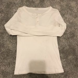 white long sleeve partial button up